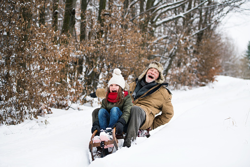 Grandfather and small girl sledging on a winter day. 1050339730