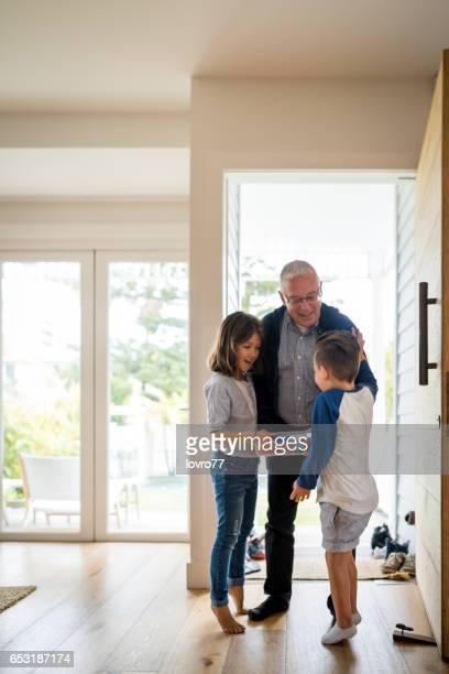 Grandfather brought grandchildren homemade biscuits