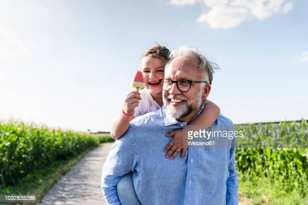 grandfather carrying granddaughter piggyback - ijs stockfoto's en -beelden
