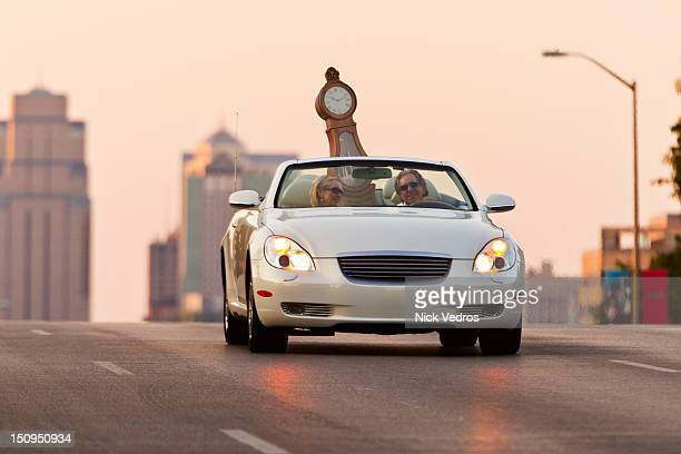 Grandfather clock transported in convertible