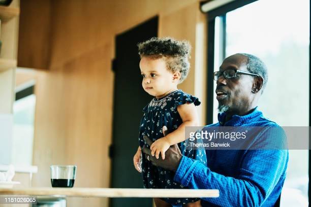 grandfather holding toddler granddaughter while sitting at dining room table - genderblend stock pictures, royalty-free photos & images