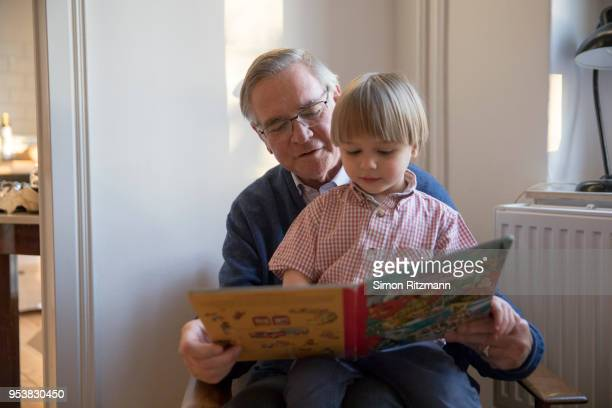 grandfather reading book to young boy - nephew stock pictures, royalty-free photos & images