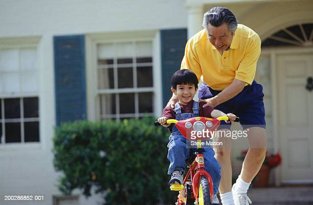 Grandfather teaching grandson (3-4) to ride bicycle in garden