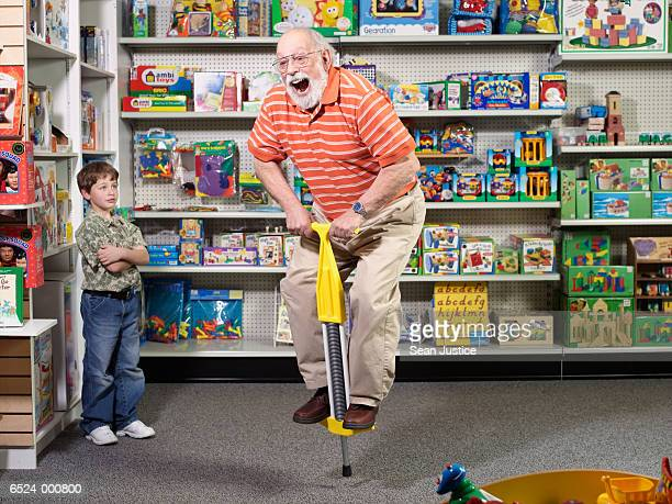 Grandfather using Pogo Stick