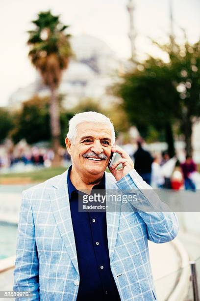 Grandfather with a phone