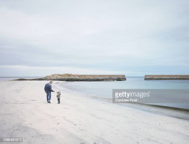 grandfather with grand daughter on norwegian beach - mid distance stock pictures, royalty-free photos & images
