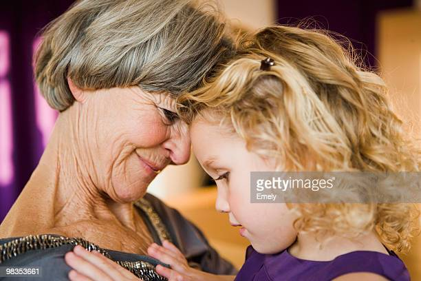 grandma and grandchild hugging