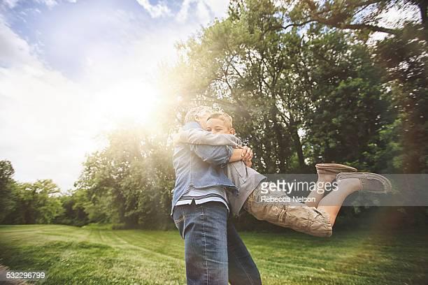 grandma hugging grandson