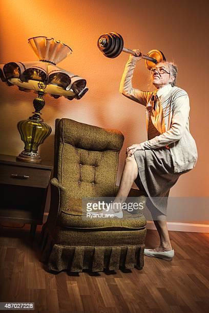 Grandma Lifting Barbell Weights