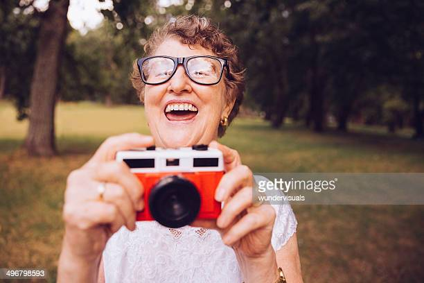 Grandma with retro camera