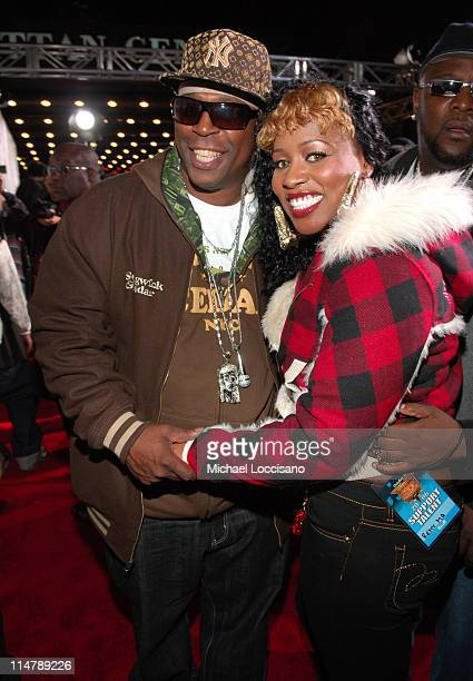 Grandmaster Caz and Remy Ma during 2006 VH1 Hip Hop Honors Red Carpet at Hammerstein Ballroom in New York City New York United States