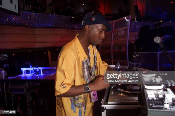 DJ Grandmaster Flash rehearsing for the MTV 20th Anniversary party MTV20 Live and Almost Legal at Hammerstein Ballroom in New York City 8/1/01 Photo...