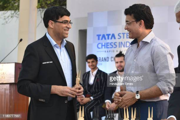 Grandmaster Viswanathan Anand and BCCI President Sourav Ganguly during the draw of fixtures ahead of the Tata Steel Chess India Tournament that will...