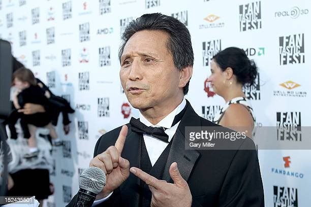 Grandmaster YK Kim walks the red carpet at the premiere of Tim Burton's Frankenweenie at the Alamo Drafthouse on September 20 2012 in Austin Texas