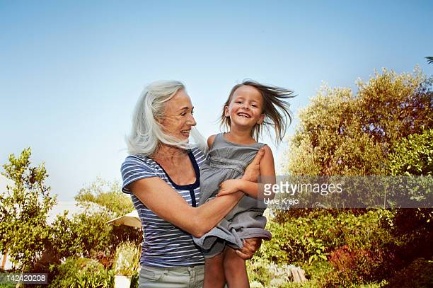 Grandmother and granddaughter having fun