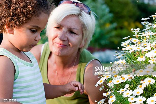 Grandmother and Granddaughter  Looking at Flowers( serie )