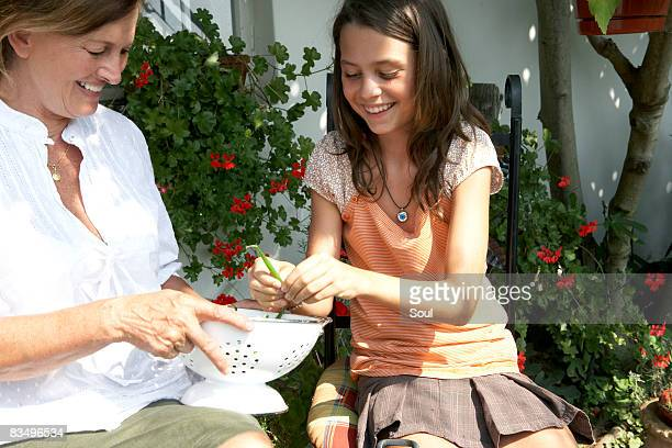 grandmother and granddaughter shelling beans - bush bean stock photos and pictures