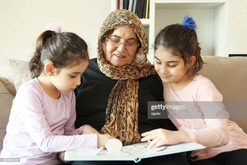 Grandmother and granddaughters : Stock Photo