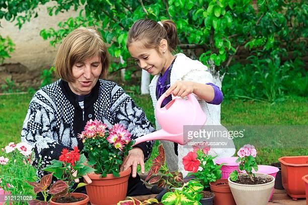 """Grand-mère et granddauther d """" arroser des fleurs en pot"""