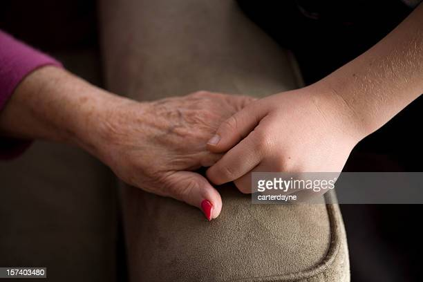 grandmother and grandson holding hands, love - great grandmother stock pictures, royalty-free photos & images