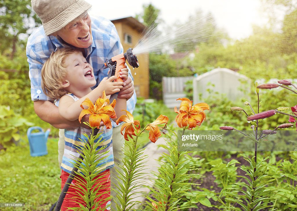 Grandmother and grandson in the garden : Stock Photo