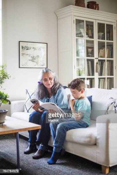 Grandmother and grandson reading picture book sitting on sofa at home