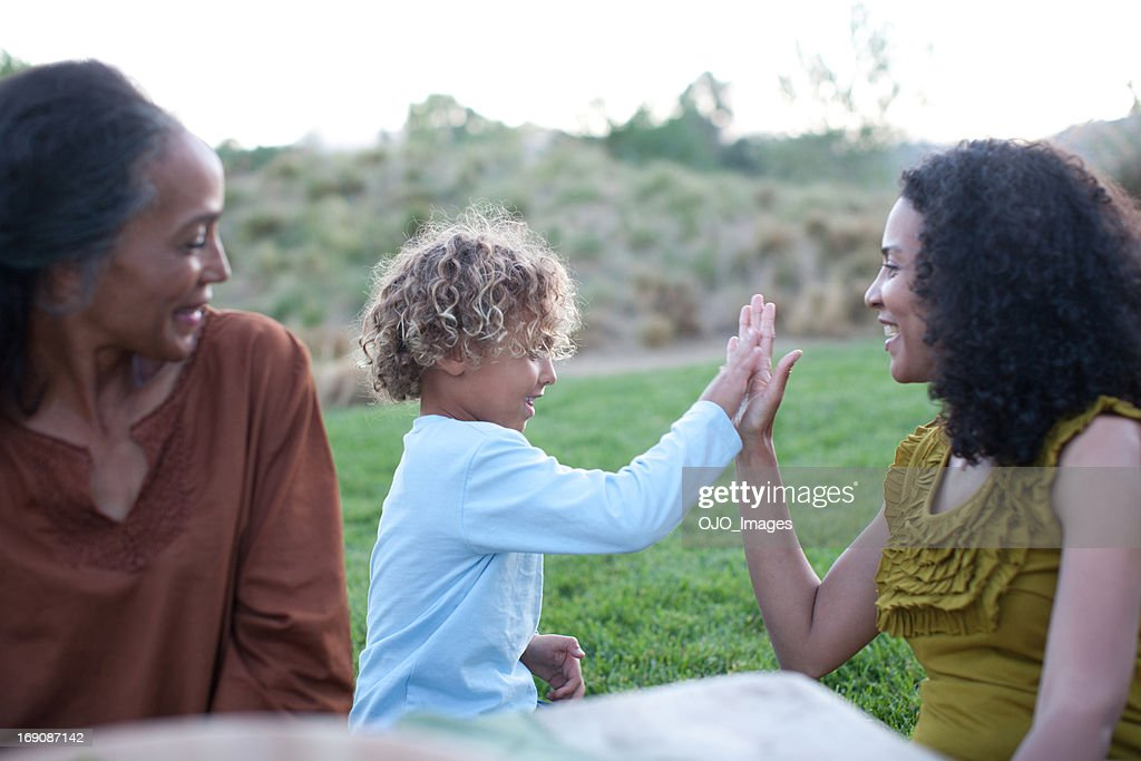 Grandmother and mother with son : Stock Photo