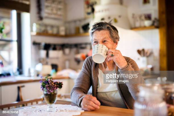 grandmother at home drinking tea. - hot tea stock pictures, royalty-free photos & images