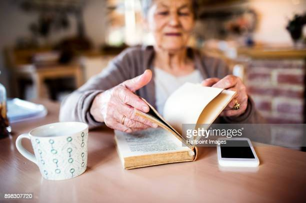 Grandmother at home reading a book and drinking tea.
