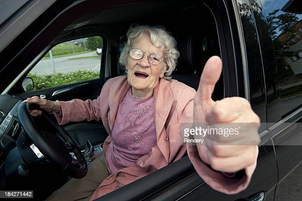 grandmother drives car