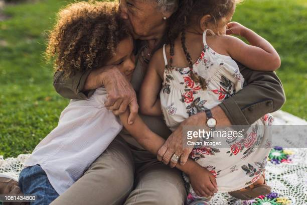 grandmother embracing grandchildren on picnic blanket at park - generation gap stock pictures, royalty-free photos & images