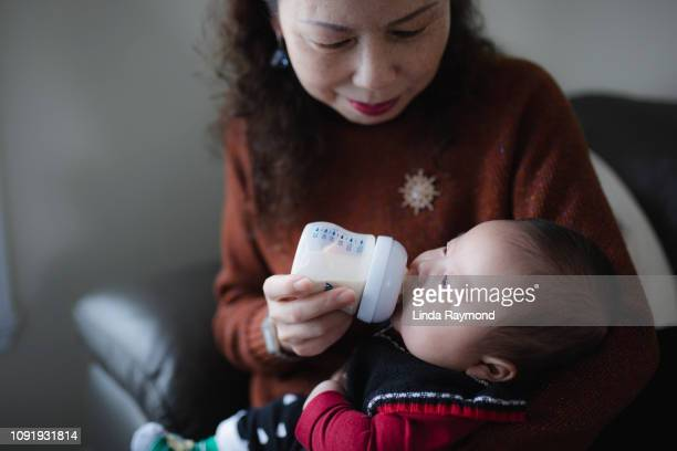 grandmother feeding a baby boy - feeding stock pictures, royalty-free photos & images