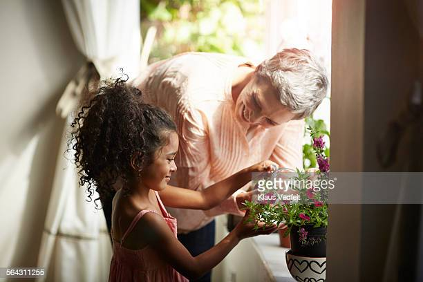Grandmother helping granddaughter watering plant