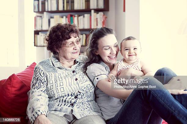 grandmother, mother and baby girl, portrait - anne sophie mutter stock-fotos und bilder