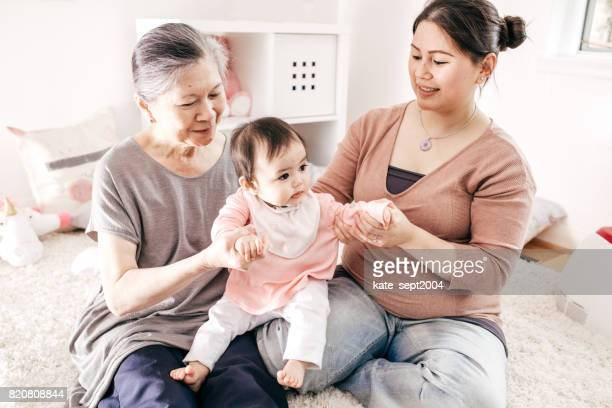 Grandmother, mother and baby