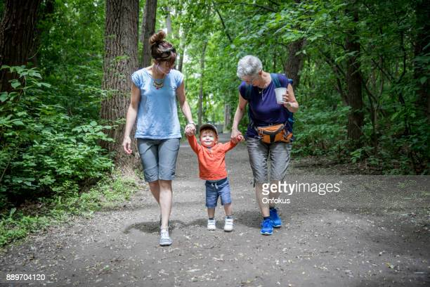 Grandmother, Mother and Grandson Walking in the Park in Summer
