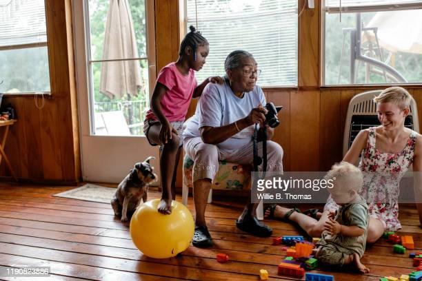 grandmother taking photos of her with grandchild - un animal fotografías e imágenes de stock