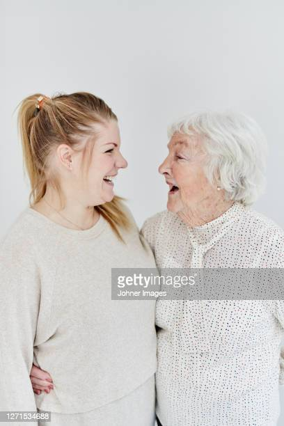 grandmother with granddaughter, studio shot - over 80 stock pictures, royalty-free photos & images