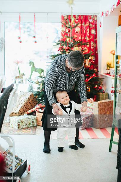 Grandmother with grandson at Christmas