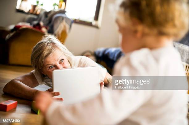 Grandmother with grandson at home using tablet.