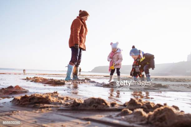 grandmother with her grandchildren on the beach - british granny stock photos and pictures