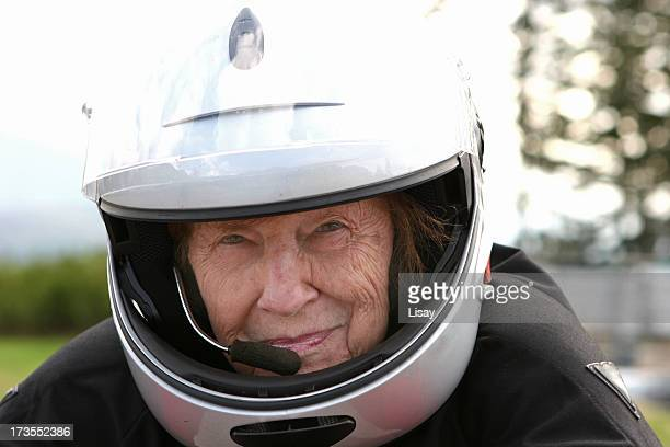 Grandmother with motorcycle helmet