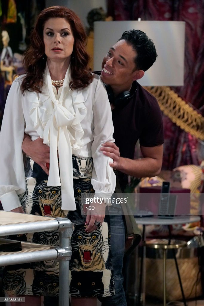 WILL & GRACE -- 'Grandpa Jack' Episode 105 -- Pictured: (l-r) Debra Messing as Grace Adler, Anthony Ramos as Tony --