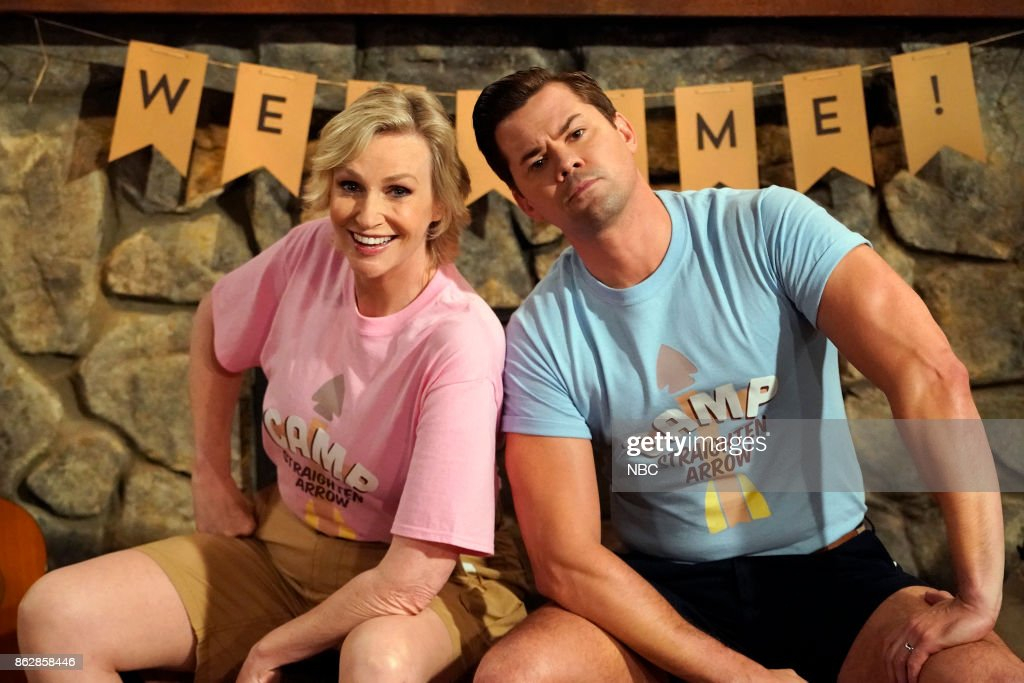 WILL & GRACE -- 'Grandpa Jack' Episode 105 -- Pictured: (l-r) Jane Lynch as Roberta, Andrew Rannells as Reggie --