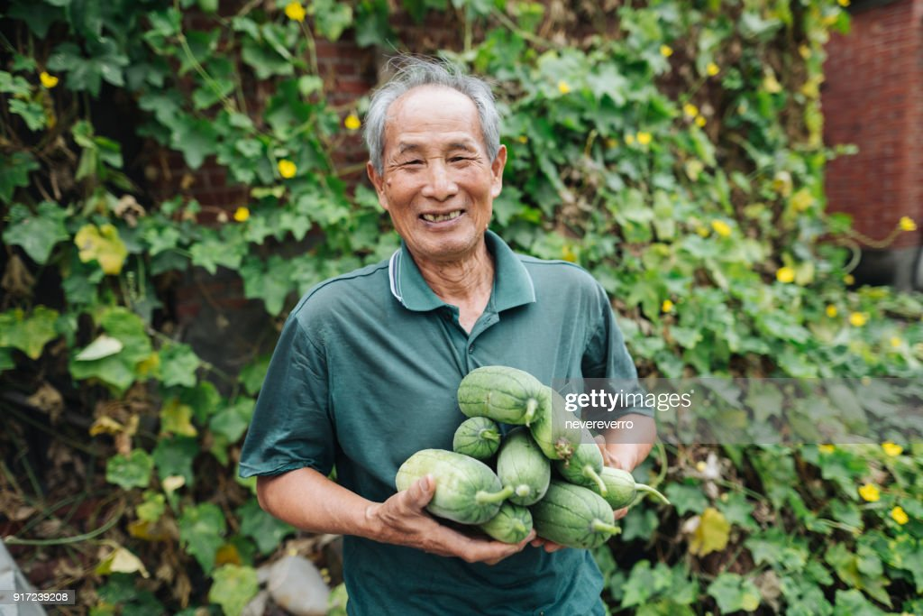Grandpa with loofah : Stock Photo