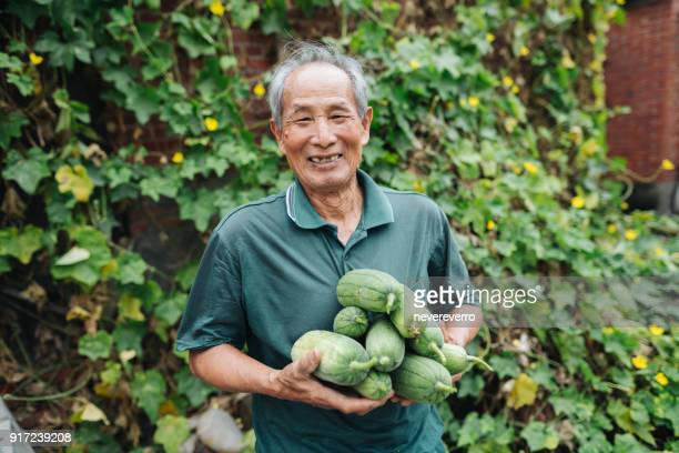 grandpa with loofah - loofah stock photos and pictures