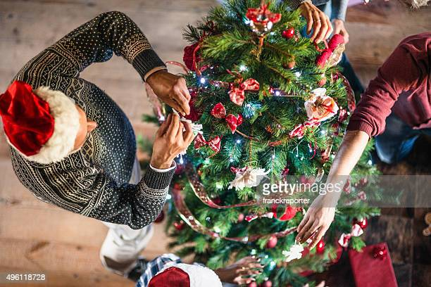 grandparent making the christmas tree