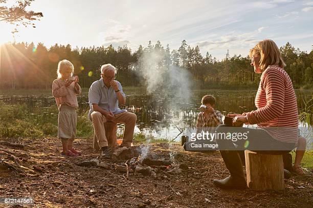 Grandparents and grandchildren enjoying campfire at sunny lakeside