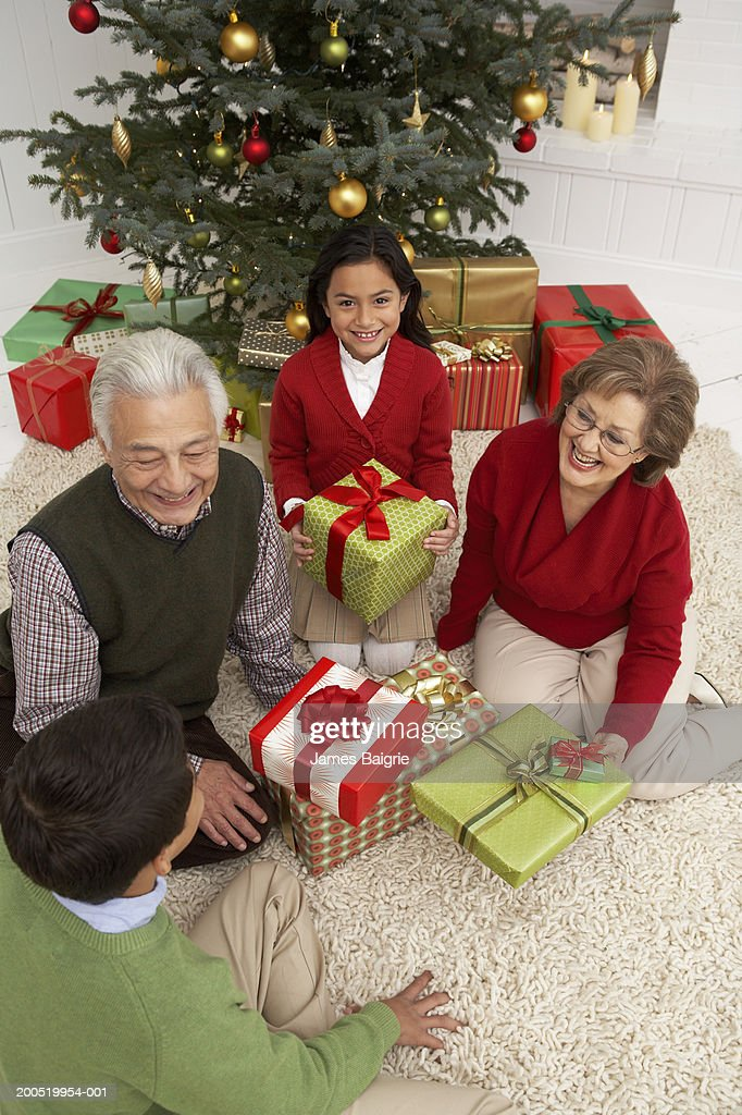 Grandparents And Grandchildren Exchanging Christmas Gifts Stock ...