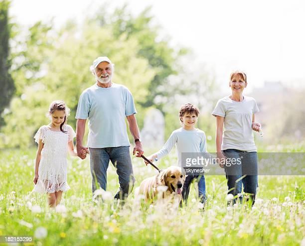 Großeltern und Enkelkinder entspannenden im park.